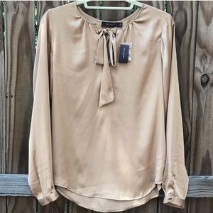 The Limited women's neck tie satin gold blouse